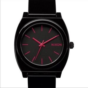 Black and pink time teller watch